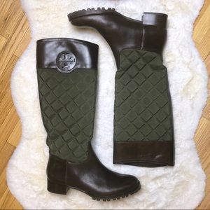Tory Burch brown & green boots